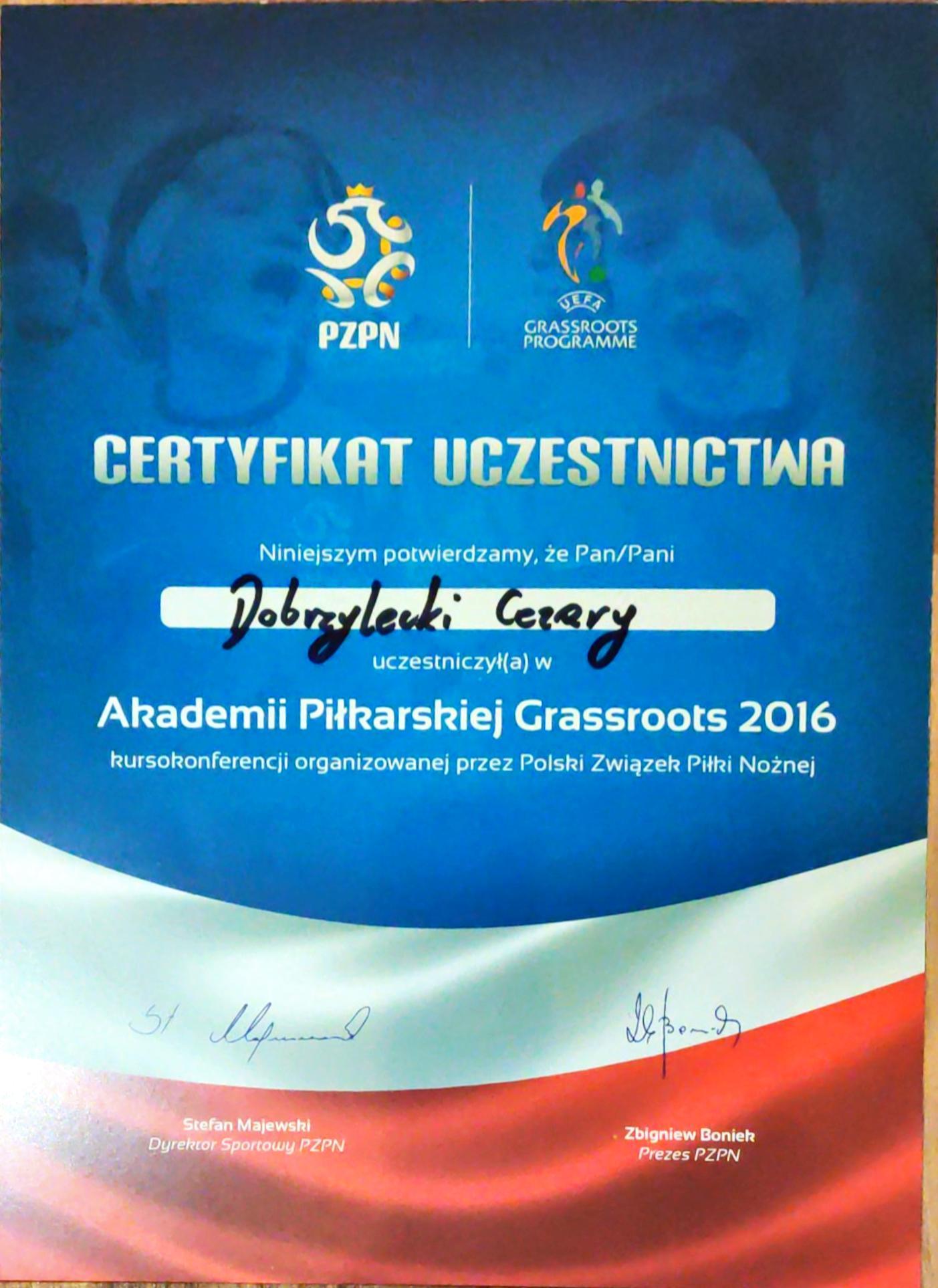 PZPN Akademia Piłkarska Grassroots certyfikat