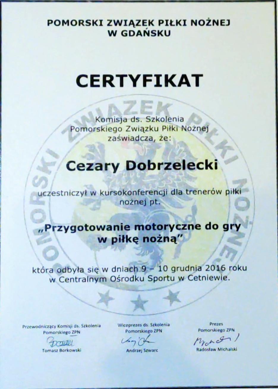 Pomorski Związek Piłki Nożnej certyfikat