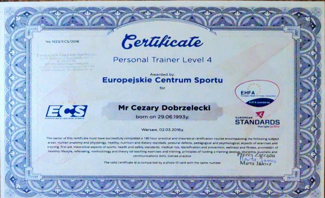Trener Personalny certyfikat – Europejskie Centrum Sportu
