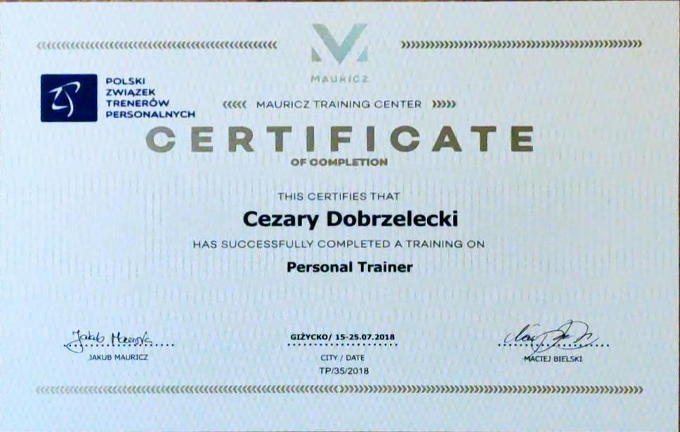 certyfikat trenera personalnego Mauricz Polski Związek Trenerów Personalnych