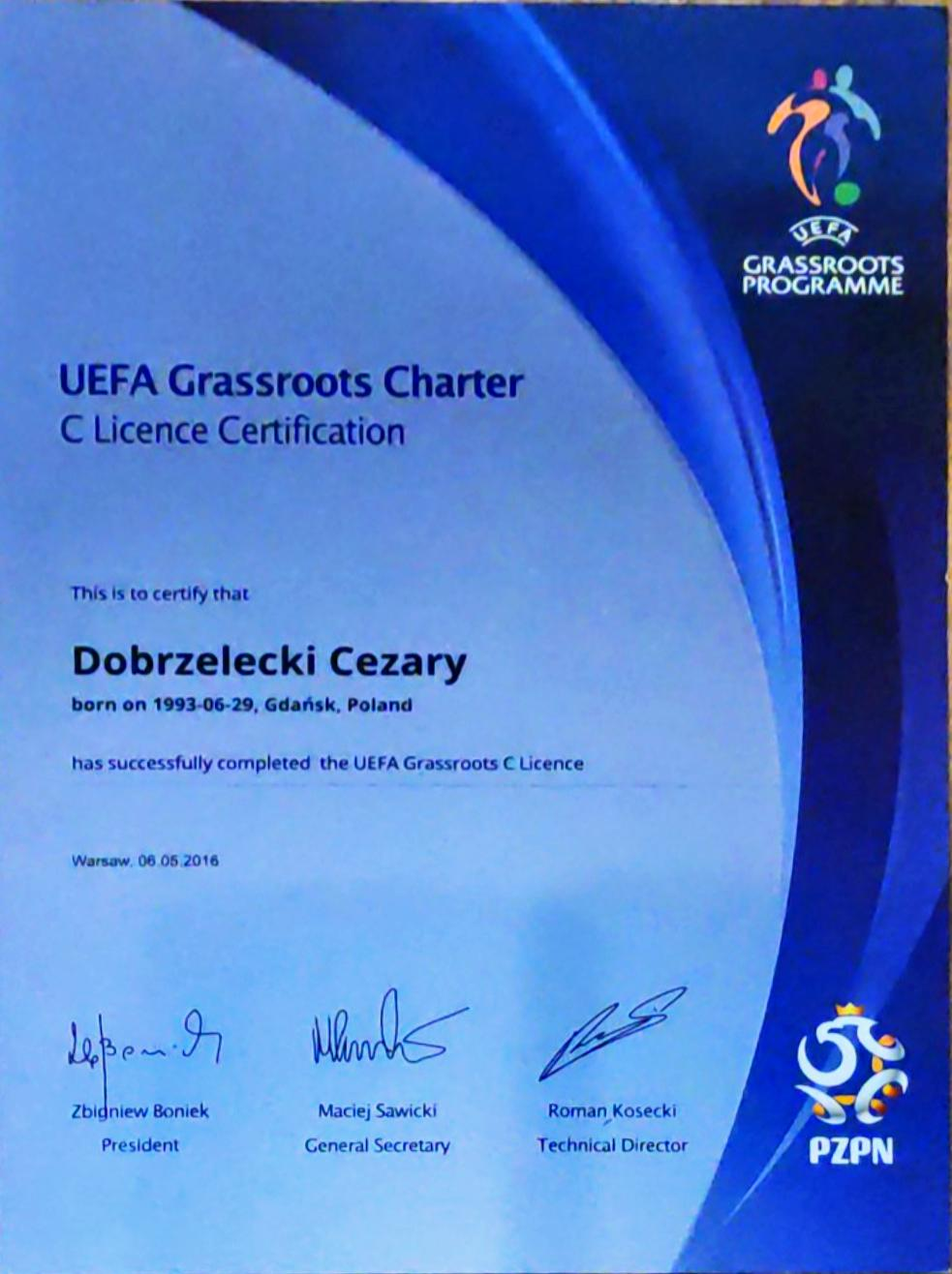 Certyfikat C Licencja trenera piłkarskiego PZPN Akademia Piłkarska Grassroots