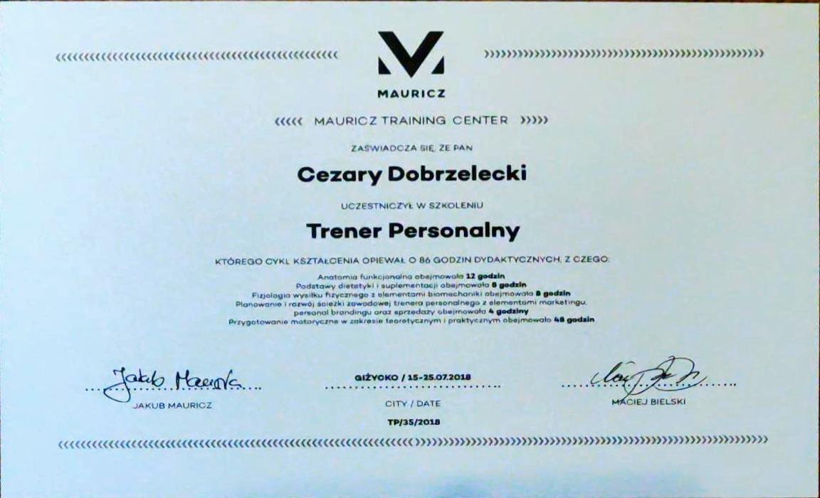 Certyfikat trenera personalnego Mauricz