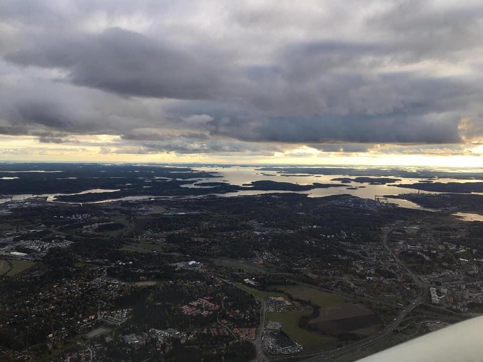 lot Gdańsk Turku widok z samolotu